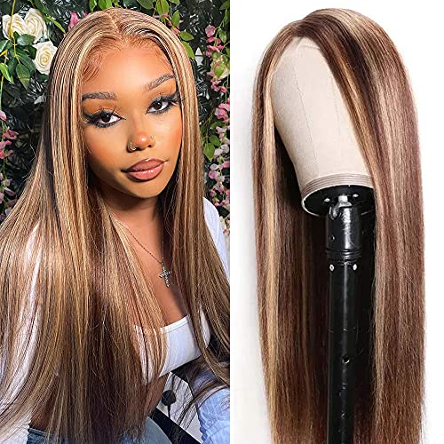 UNICE Hair Ombre Highlight Straight T Part Lace Closure Human Hair Wig 10A Brazilian Remy Hair Honey Blonde Brown Wigs Pre Plucked with Baby Hair for Women Middle Part 150% Density 14 Inch