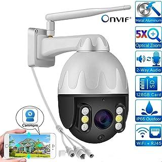Cámara PTZ 1080P cámara Domo IP cámara de Seguridad WiFi con Zoom 5X función de inclinación/visión Nocturna en Color/detección de movimiento/IP66 a Prueba de Agua admite Tarjeta SD de hasta 128G