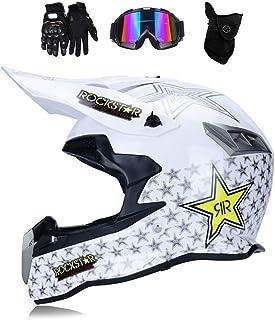 MRDEAR Motocross Helm mit Brille (4 Stück/Rockstar) Downhill Helm Motorrad Crosshelm Herren Damen Cross Fullface MTB Helm Mopedhelm Motorradhelm für Sicherheit Schutz, 3 Arten