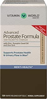 Vitamin World Advanced Prostate Formula Saw Palmetto Complex 120 Softgels, Supports Prostate Health, Urinary Health, Rapid...