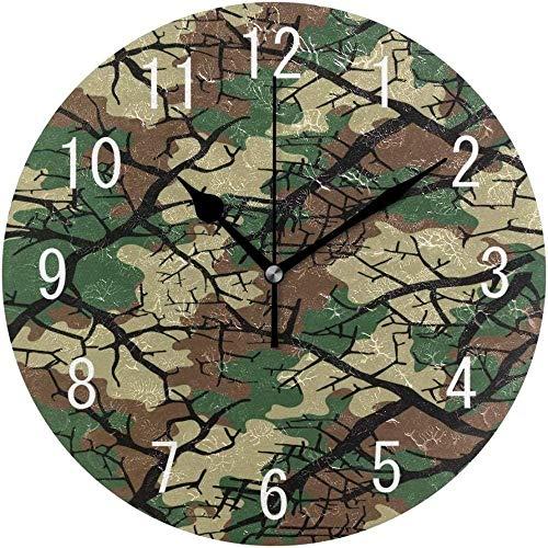 DBQRS7 Reloj de Pared Camuflaje Bosque Arte Redondo silencioso Reloj de Pared Sala de Estar Dormitorio Cocina Colorida Hotel clásico Escuela Duradera decoración del hogar