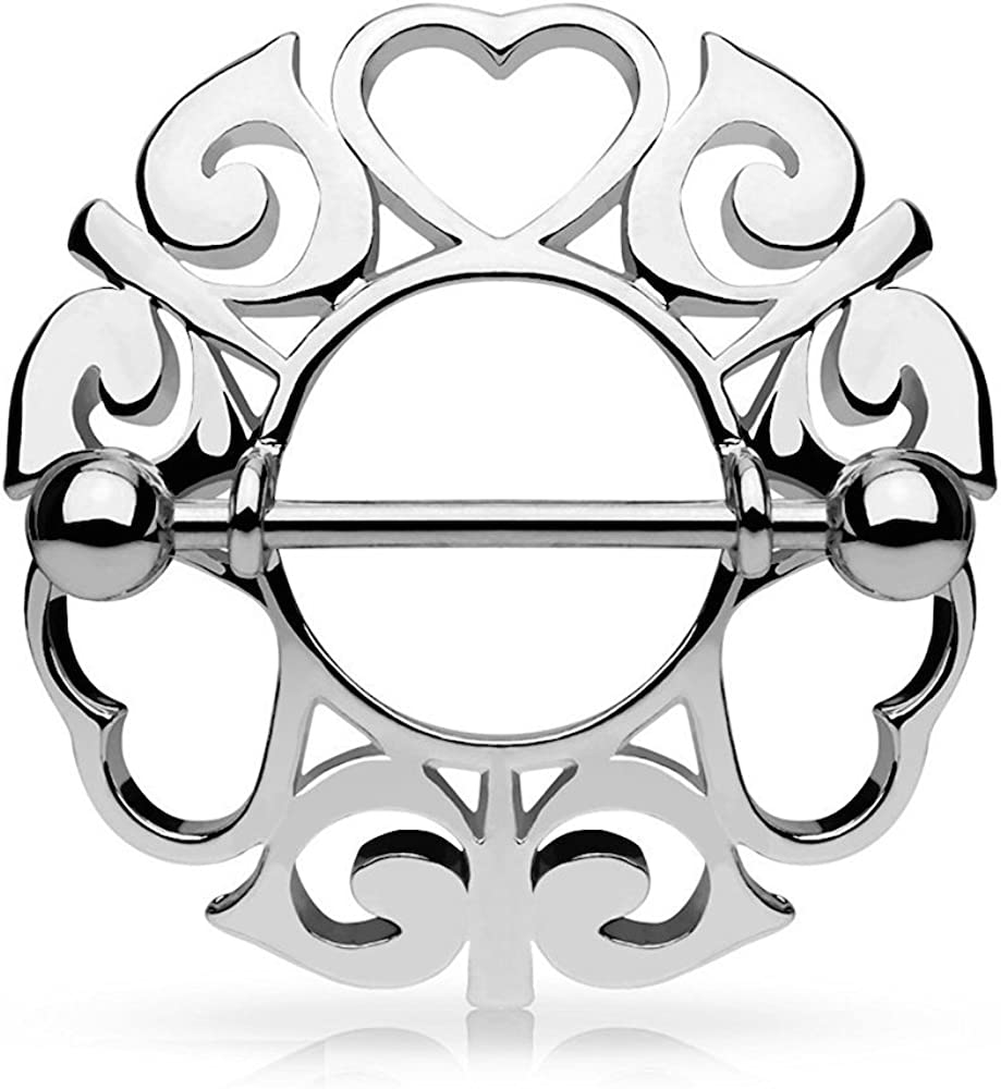 Covet Jewelry Tribal Hearts Hollow Nipple Shield with 316L Surgical Steel Barbell