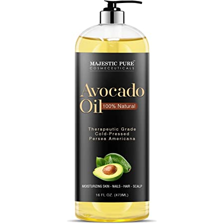 Majestic Pure Avocado Oil for Hair and Skin - 100% Pure and Natural, Cold-Pressed, for Skin Care, Massage, Hair Care, and Carrier Oil to Dilute Essential Oils, 16 fl oz