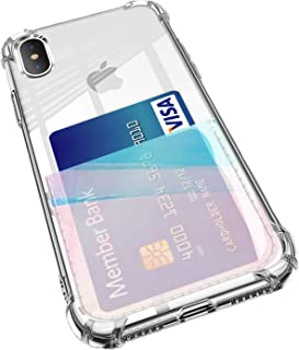 ANHONG iPhone X/Xs Clear Case with Card Holder, [Slim Fit] Protective Soft TPU Shockproof Case with Hologram TPU Card Holder for iPhone X/Xs 5.5 Inch (2018) (Hologram Blue)