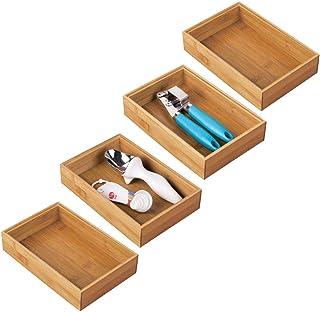 mDesign bac de rangement pour cuisine (lot de 4) – rangement tiroir en bambou – rangement cuisine empilable pour couverts,...