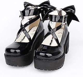 61070988 PINGXIANNV Zapatos Lolita Mujer Primavera Lolita Cosplay Princesa Mujer  Zapatos De Tacón Arco Tacones Altos Plataforma