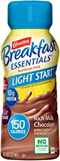 Carnation Breakfast Essentials Light Start Ready-to-Drink, Rich Milk Chocolate, 8 Ounce Bottle (Pack of 24) (Packaging May...
