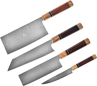 Couteau de cuisine Damas Couteau en acier inoxydable Ligne de forgeage manuel Damas Pour les chefs (Color : 4times)