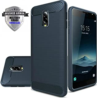 Asus Zenfone V Live Case, Shockproof Rugged Anti-Drop Carbon Fiber Rubber Soft Silicone Full-body Protective Cover for Asus V Live V500KL 5.0 Inch with Tempered Glass Screen Protector. (Navy Blue)