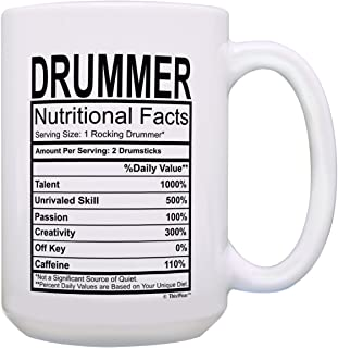 Drummer Gifts Drummer Nutritional Facts Fun Drummer Gifts for Kids 15-oz Coffee Mug Tea Cup