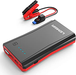 LEMSIR 800Amps QDSP 800A Peak Portable Car Lithium Jump Starter up to 7.2L Gas or 5.5L Diesel Auto Battery Booster Power Pack with Smart Jumper Cables V8