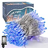 300 LED String Lights Outdoor Indoor, Extra Long 98.5FT Super Bright Christmas Lights, 8 Lighting Modes, Plug in Waterproof Fairy Lights for Holiday Wedding Party Bedroom Decorations (Blue)