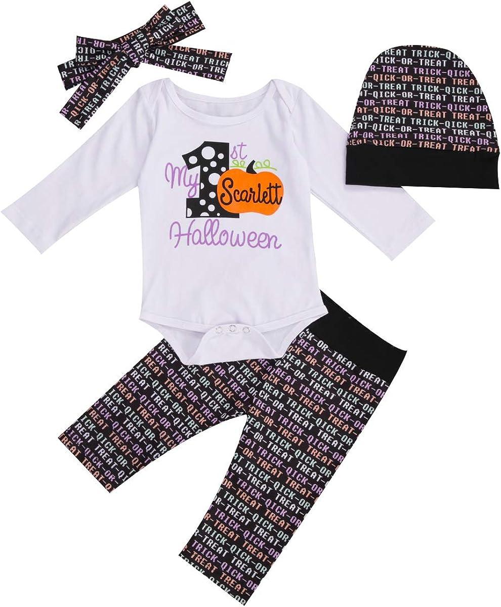 My 1st Halloween Newborn Baby Girl boy 4Pcs Clothes Set Long Sleeve Pumpkin Romper Pants hat Headband Outfit
