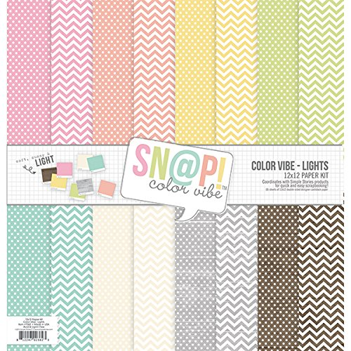 "Simple Stories Paper Pack 12""X12"" 8/Pkg-Sn@P! Lights Color Vibe"