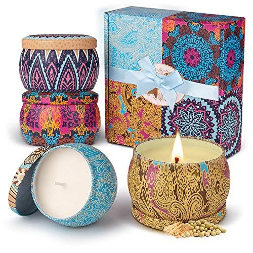 Velas Perfumadas,Eletorot Vela Aromática Juego de 4 Piezas Cera de Soja Higo Primaveral Lavanda Limón Juegos de Velas para Cumpleaños Aniversario Día de San Valentín Regalos Mujer