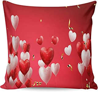 DOME-SPACE Throw Pillow Case Valentines Day Heart Shaped Balloons Happy Image Cotton Linen Square Throw Pillow Covers Home Sofa Pillow Case 16x16inch