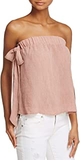 Womens Crinkled Textured Strapless Top