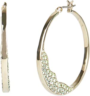 Carolee Women's Thin Hoop Pave Stones Earring