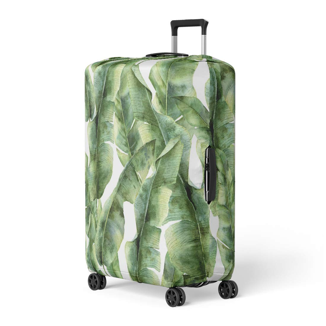 Pinbeam Luggage Cover Watercolor Pattern Banana Palm Leaves Hand Exotic Greenery Travel Suitcase Cover Protector Baggage Case Fits 18-22 inches