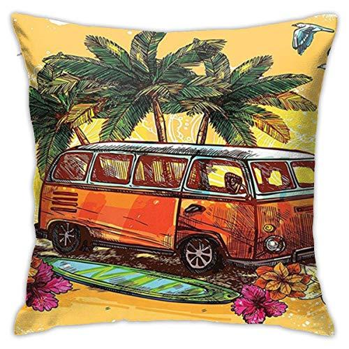 Fundas de Almohada Decorativas, Funda de cojín, Cremallera Invisible Hippie Surf Hippy Vintage Old Bus Tabla de Surf Flores Palm Sketch Color Rasta, 45 x 45 cm