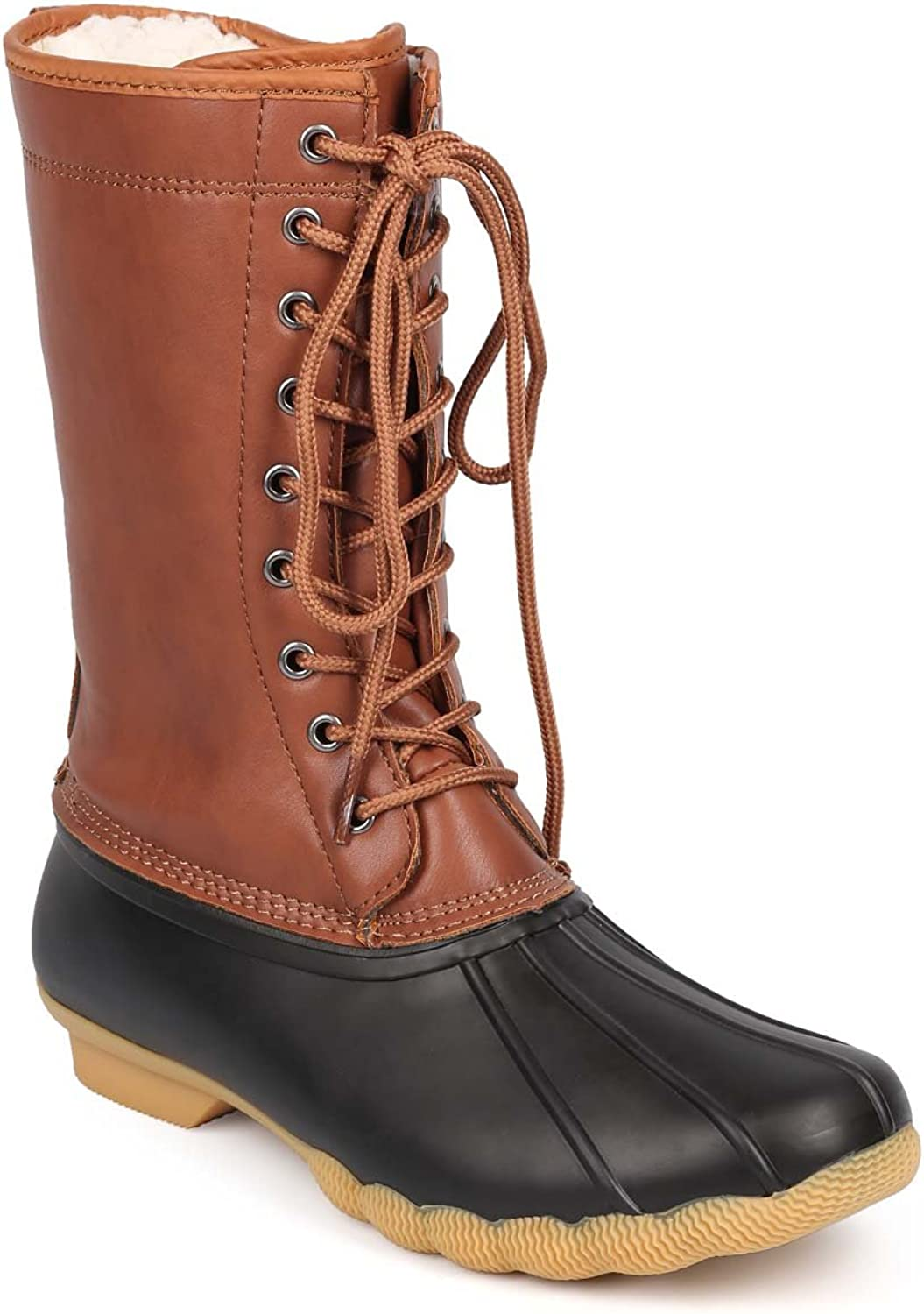 Refresh DD25 Women Two Tone Mix Media Shearling Lace Up Duck Boot - Black Cognac