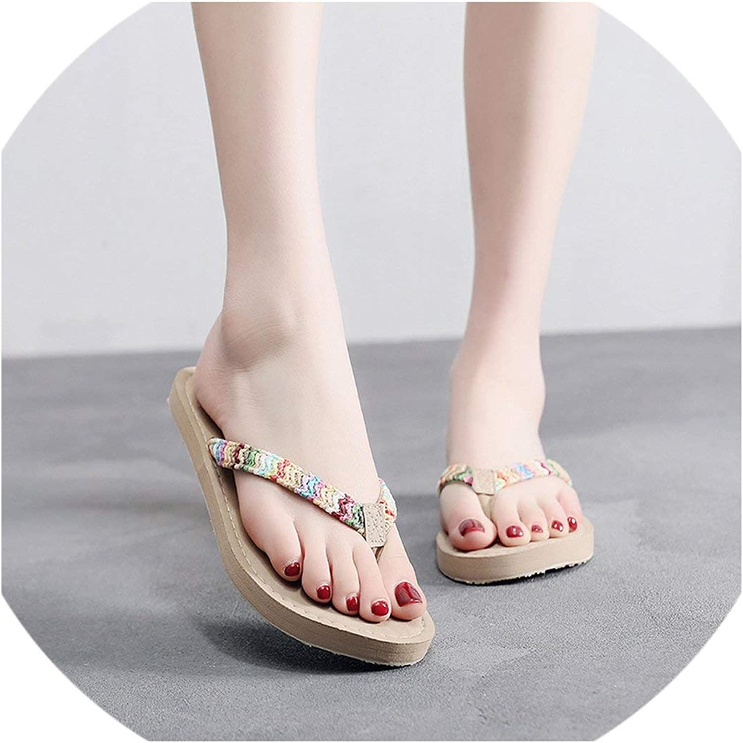 April With You Straw Slippers Flat Lafite Grass colord Women Summer Comfy Flat Non-Slip Slippers