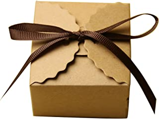 Tongshi Kraft Paper Candy Favor Boxes with Ribbon Wedding Favor Gift Party Supply, Set of 50