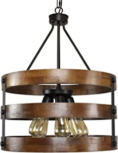PUZHI HOME Circular Wood and Metal Chandelier Pendant Lighting Five Lights Oil Black Finishing Retro Vintage Industrial Rustic Ceiling Lamp Light for Farm Barn Kitchen