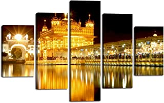 """Yatsen Bridge Golden Temple Canvas Painting 5 Panels Amritsar Sikh's Heritage Wall Art Picture Holy Golden Temple at Midnight Poster Print Artwork Home Decor for Living Room Bedroom (60""""Wx40""""H)"""