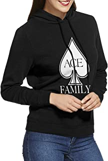 Ace Family Women Long Sleeve Casual Hoodie Hooded Sweatshirt with Drawstring Gray