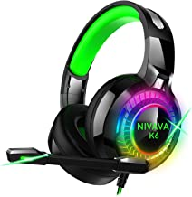 Nivava Gaming Headset for PS4, Xbox One, PC Headphones with Microphone LED Light Mic for Nintendo Switch Playstation Computer, K6(Green)