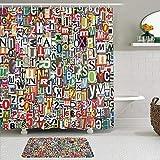 Juego de cortinas y tapetes de ducha de tela,Collage abstracto hecho de recortes de periódicos Alfabetos esquejes Dive,cortinas de baño repelentes al agua con 12 ganchos, alfombras antideslizantes