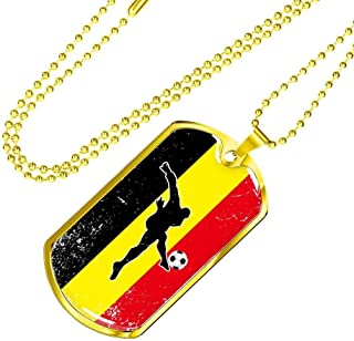 Express Your Love Gifts Belgium Diables Rouges Futbol/Soccer Dog Tag Necklace w 24