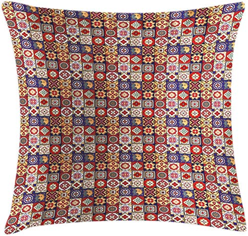 vnsukdlfg Talavera Satin Throw Pillow Cover, Vintage Style Spanish Floral Motifs Pottery Look Continuous Pattern, Decorative Accent Square Cushion Pillow Case, Multicolor,18 X 18 Inches