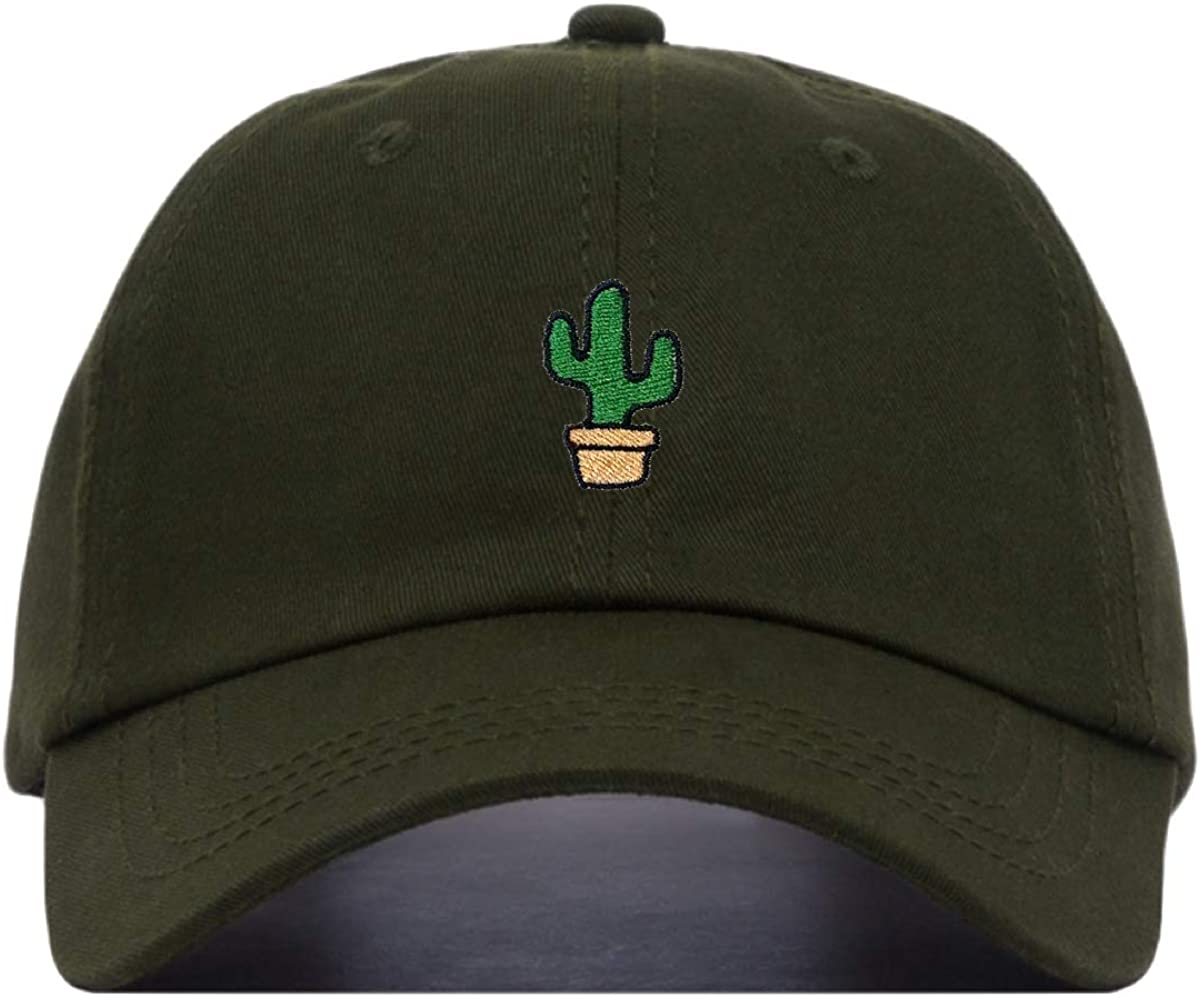 Cactus Baseball Hat, Embroidered Dad Cap, Unstructured Soft Cotton, Adjustable Strap Back (Multiple Colors)