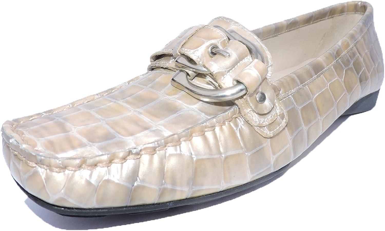 Stuart Weitzman Women's Download Oyster Croco Loafer, Flats Size 5.5 M US