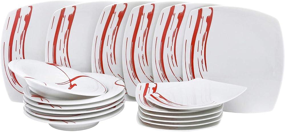 Kasanova , servizio piatti 18 pezzi quadrati , in porcellana bianca con decoro rosso sul lato KRO010039NOC