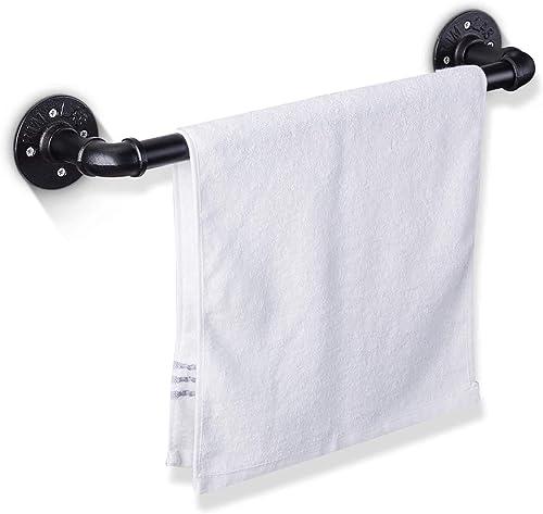 Elibbren 18 Inch Industrial Pipe Towel Bar, Bathroom Hardware Towel Bar Accessory, DIY Wall Mount Bath Towel Rack Hol...