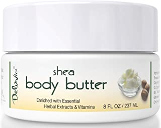 Shea Body Butter - Raw Fair Trade Shea Butter, Organic Rose Hip Oil, Organic Lavender, Organic Jojoba Oil, Cocoa Butter & Dead Sea Minerals. Intense Moisturizing Body Cream. by Deluvia
