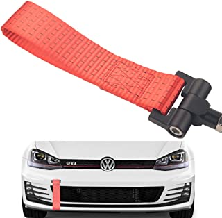 Dewhel Track Racing Style Tow Hook w/Red Towing Strap Front Rear Bumper Screw on For Volkswagen MK7 VII Golf GTi 2015-Up