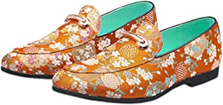 Holibanna Men Embroidery Loafers Shoes Leather Slip On Dress Driving Wedding Party Moccasin Flats