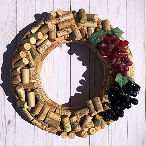 Wine Cork Wreath With Grapes Hand Made Custom Authentic Wine Cork Wreath