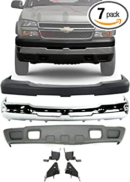 Amazon Com New Front Bumper Face Bar Chrome Upper Cover Lower Valance Air Deflector Textured With Tow Hook Holes Brackets For 2003 2006 Chevrolet Silverado 2500hd 3500 Direct Replacement Automotive