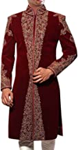 INMONARCH MensSherwani Maroon Velvet Sherwani IndianSuit Reception SH0422