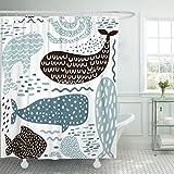 VaryHome Duschvorhang, abstrakt, mit Meeresfell-Dichtung, Wal, Oktopus, Fisch, Kindergeschirr, Pastellfarben, Blau, Polyester-Mischgewebe, rot, 72 x 72 inches