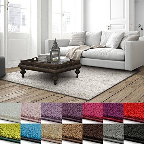 casa pura Shaggy Teppich Barcelona   weicher Hochflor Teppich für Wohnzimmer, Schlafzimmer, Kinderzimmer   GUT-Siegel + Blauer Engel   Verschiedene Farben & Größen   200x200 cm   Creme