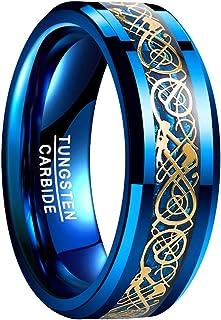 VAKKI 8mm Mens Celtic Dragon Tungsten Carbide Wedding Band Blue/Black Carbon Fiber Engagement Ring Size 5-14