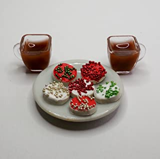 Jessieraye Plate of Christmas Cookies and 2 Cups of Cocoa Playset - Doll Drink for Barbie Monster High Fashion Dolls