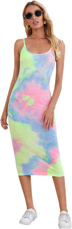 SheIn Women's Tie Dye Midi Bodycon Dress Sleeveless Round Neck Pencil Dresses