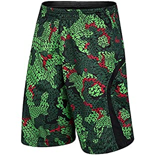 1Bests Men's Running Basketball Sports Short Pants Thin Breathable Fitness Loose Training Shorts with pocket (Jungle green, XL)